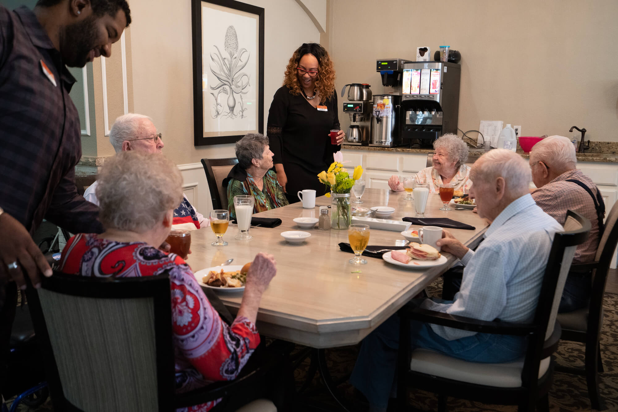 group of seniors dining together