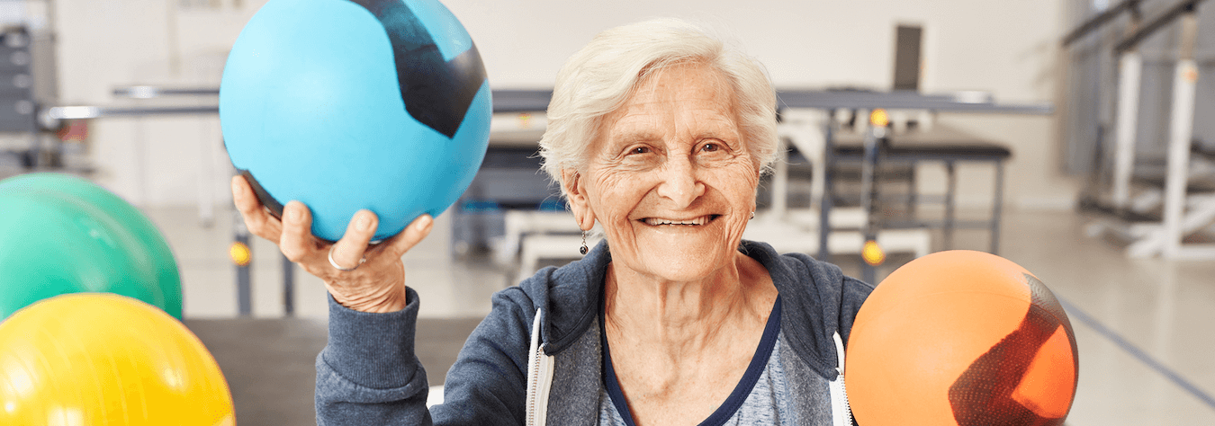 smiling senior woman exercising
